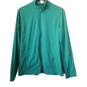 Roots womens teal zip-up athletic sweater jacket